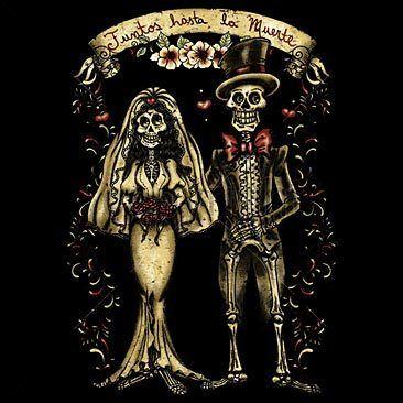 DIA DE LOS MUERTOS TILL DEATH MARRIED COUPLE T SHIRT