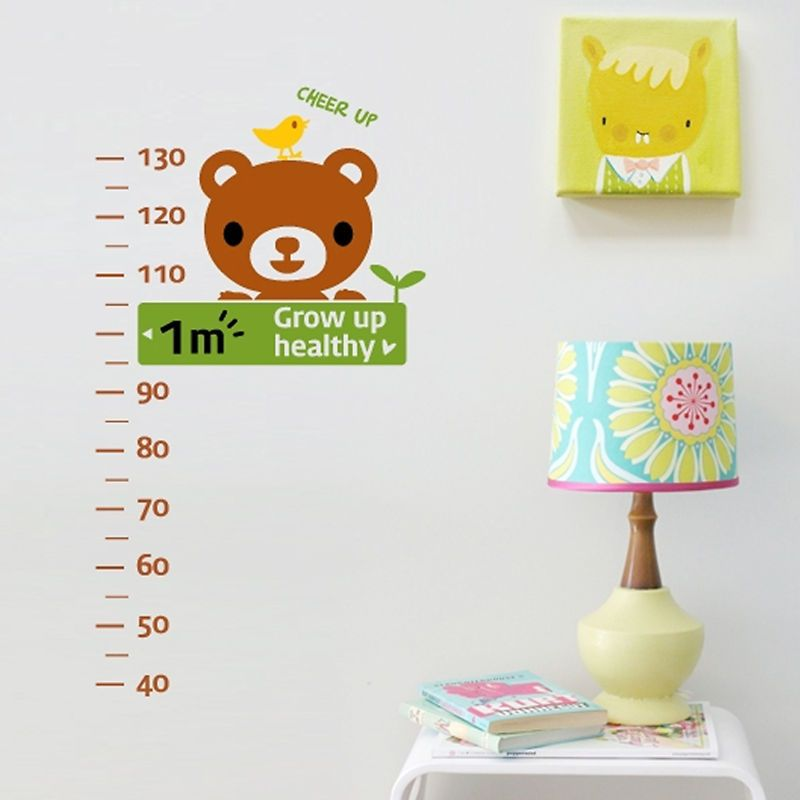 Bear Height Measure Kids Room Nursery Wall Stickers