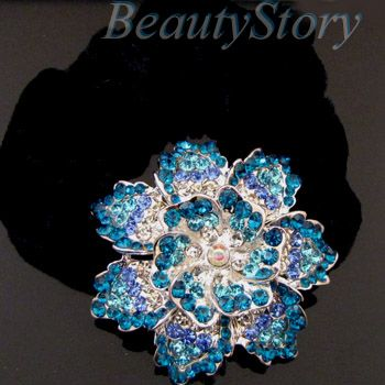 rhinestone crystal flower hair scrunchie ponytail