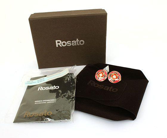 ROSATO SIGNED 18K GOLD DIAMONDS & ENAMEL EARRINGS NWT BOX RETAIL $810