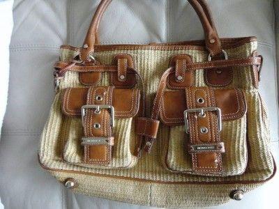 Michael Kors Used Panama Handbag Purse bag straw leather brown gold