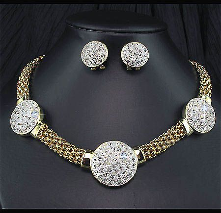 Piece Set Wedding Bridal Golden KGP Crystal Mesh Necklace Earrings
