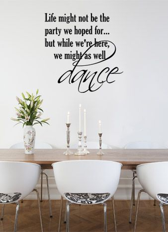 LIFE PARTY DANCE QUOTE VINYL WALL DECAL STICKER ART WORDS HOME DECOR