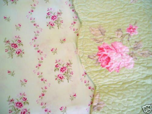 Shabby Cottage TWIN SHEET SET PinK ROSES floral GREEN