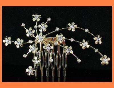 BLOSSOM JEWELRY CLEAR CRYSTAL HAIR COMB BRIDAL M125G