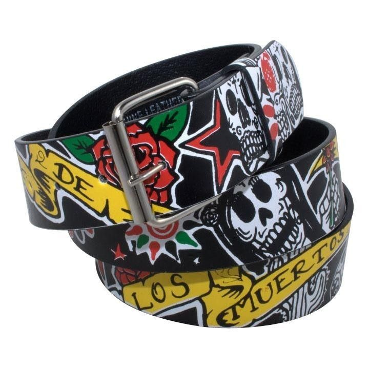 DIA DE LOS MUERTOS LEATHER BELT ***NEW*** Mexican Day Of The Dead